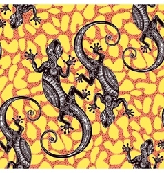 Seamless pattern with geckos vector