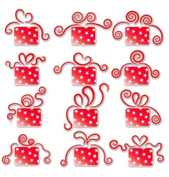 Collection of red gift boxes on a white background vector image