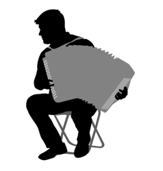 Silhouette musician accordion player on white vector