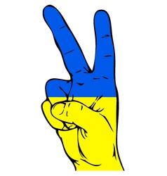 Peace sign of the ukrainian flag vector