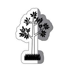 Sticker contour silhouette tree leafy with bush vector
