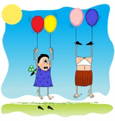 Girls with balloons vector
