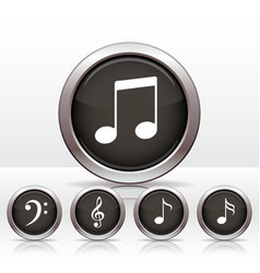 Set buttons with music note icon vector