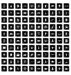 100 robot icons set grunge style vector
