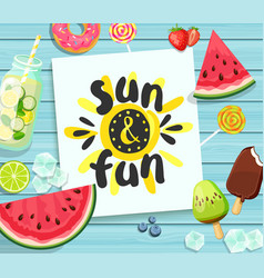 Sun and fun card on blue wooden background vector