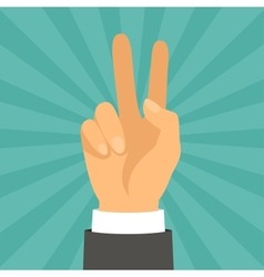 Hand shows victory sign in flat design style vector