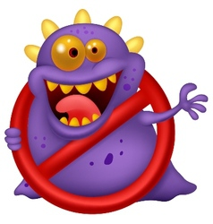 Cartoon stop virus - purple virus in red alert sig vector
