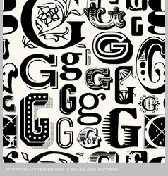 Seamless vintage pattern letter g vector