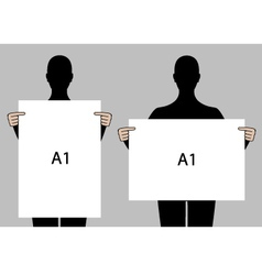 People holding blank posters set vector