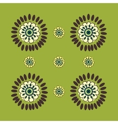 Abstract flowers on green natural background vector