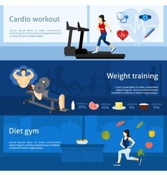 Gym workout banner vector