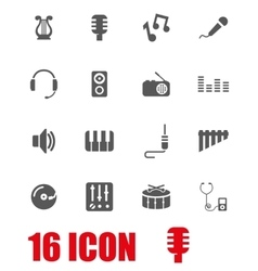 Grey music icon set vector