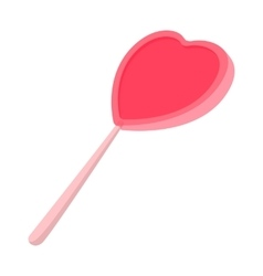Pink candy on a stick in the form of heart icon vector image