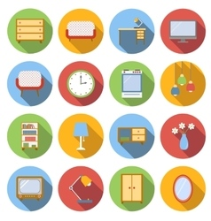 Interior flat icons set vector