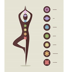 Color chakra icons with silhouette doing yoga vector