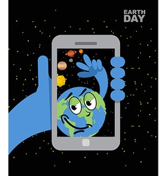 Earth day earth selfie planet earth and mobile vector
