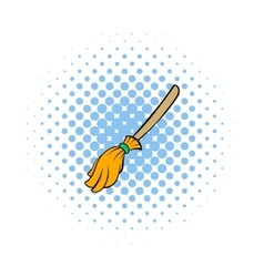 Witches broom icon comics style vector