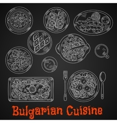 Traditional bulgarian cuisine chalk sketches vector