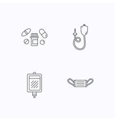 Medical mask blood and pills icons vector