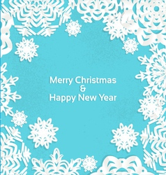 Applique snowflake Christmas frame for your text vector image