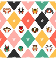 Colorful chinese zodiac chess board diamond vector