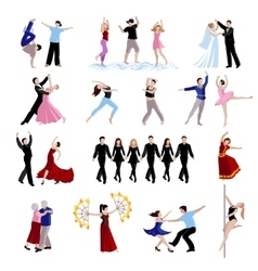 Dancing people icons set vector