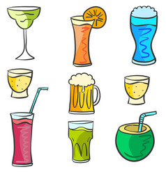 doodle set drink design collection vector image vector image