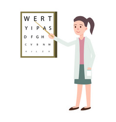 female doctor doing vision check icon vector image