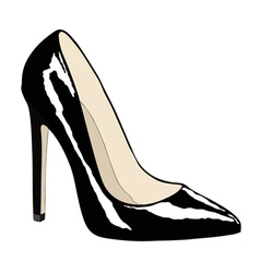 Female shoe of black color vector
