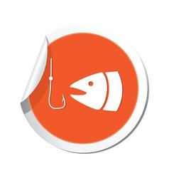 Fishing icon orange sticker vector