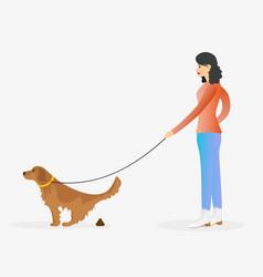 Girl walking a dog golden retriever pooping vector