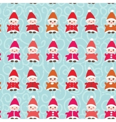 Happy New Year Funny gnomes in red hats seamless vector image vector image