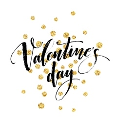 Happy Valentines Day hand lettering with golden vector image vector image