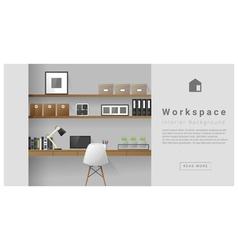 Interior design Modern workspace background 4 vector image