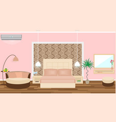 luxe hotel room interior with air cinditioning vector image