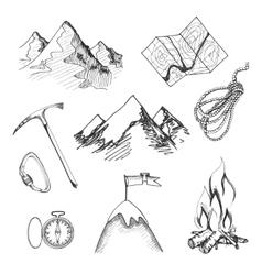Mountain climbing camping icons vector