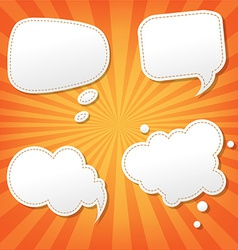 Orange sunburst poster with speech bubble vector