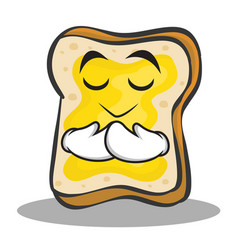 Praying face bread character cartoon vector