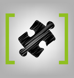 Puzzle piece sign black scribble icon in vector