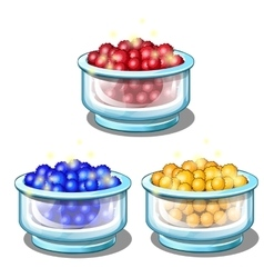 Red blue and yellow balls in glass cups vector image vector image
