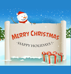 santa snowman behind christmas parchment vector image vector image
