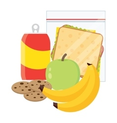 School lunch apple banana sandwich and cookies vector