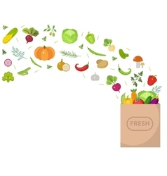 Shopping paper bag with fresh vegetables Flat vector image