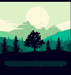 silhouette of forest mountains and clouds vector image vector image
