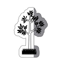 Sticker contour silhouette tree leafy with bush vector