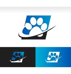 Swoosh animal paw logo icon vector