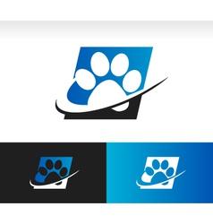 Swoosh animal paw logo icon vector