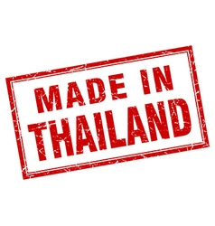 Thailand red square grunge made in stamp vector image vector image