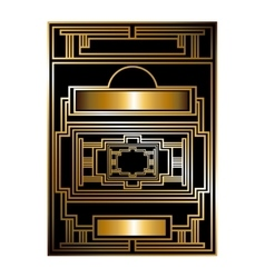 Two-color pattern with art deco frame vector image vector image
