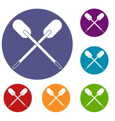 Two wooden crossed oars icons set vector